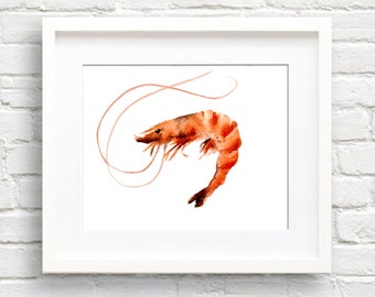 Shrimp Art Print - Kitchen Art - Wall Decor - Watercolor Painting