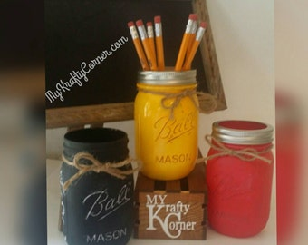 Back to school mason jars, Choice of No.2 pencil, chalkboard black or an apple a day red hand painted mason jar with a rustic look and feel