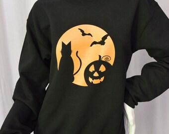 Halloween Moon sweatshirt screen printed