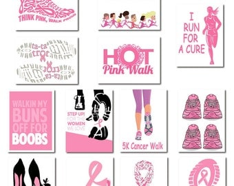 Breast Cancer Walk Cards | set of 13 | Pink Ribbon | Fundraising | Walk for Cure | 5k | Pink Walk