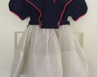 Vintage 1950's Girls Nautical Sailors dress