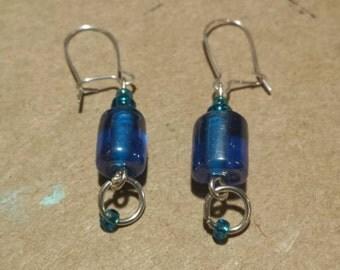 Ocean blue dangly glass earrings