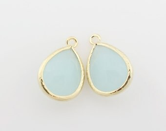 G000313P/Alice Blue/Gold plated over brass/Drop faceted glass pendant/11.4mm x 17.1mm /2pcs