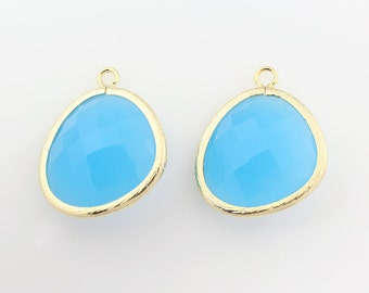G001203P/ Dodger Blue /Gold plated over brass/Large Asymmetrical framed glass pendant/13mm x 15.8mm/2pcs