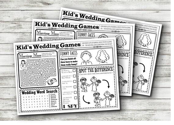 wedding kids activity sheet instant download