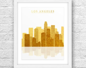 Los Angeles Art, Los Angeles Print, Gold Cities Los Angeles, Los Angeles Skyline, Los Angeles Wall Art, Minimal Design, Minimalist Art