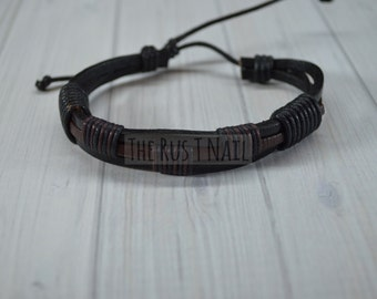 FREE SHIPPING - Black and Brown Leather Bracelet - Unisex Cuff Bracelet