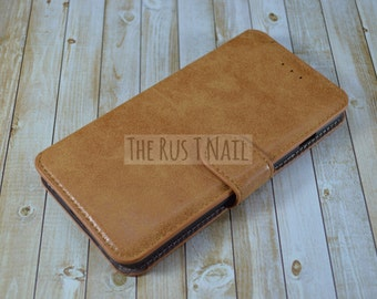 FREE SHIPPING - Brown iPhone 6s-Plus Wallet Case - Leather