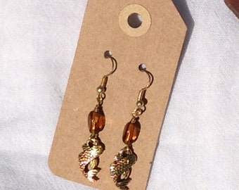 Koi earrings with gold finish