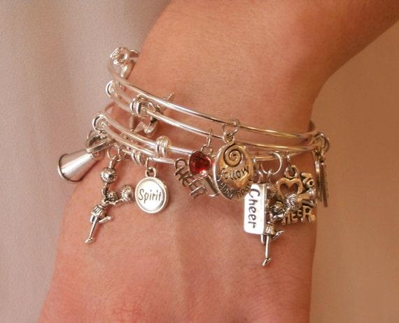Cheerleading Charm Bangle Bracelet Set of 4 Silver, Cheerleading Jewelry, Cheerleading Gift, Cheerleader Bracelet, Cheerleading Coach Gift