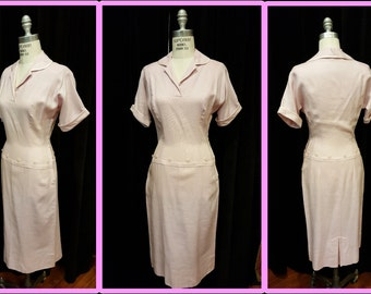 Summer- Viva Las Vegas ~ Amazing Bombshell Pink Linen Dress~Very Fitted! Perfect Little Pink Number!