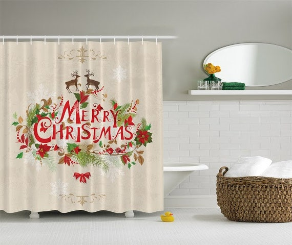 Merry Christmas Holiday Bathroom Shower By Charmingdivaboutique