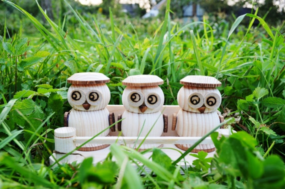 Wooden owl salt and pepper shaker handmade set shaker grinder - Owl salt and pepper grinders ...