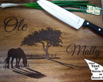 Western, Horse, Ranch Cutting Board (W1) Personalized Wedding Cutting Board, Engraved Cutting Board, Custom Cutting Board, Wood Gift