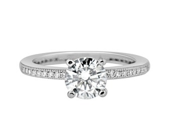 Classic Solitaire 1 Carat CZ Engagement Ring - Milgrain Band Cubic Zirconia Sterling Silver Rhodium