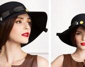 1 feit hat with  wide brim English style wool 100% Adjustable headband - IHAT 001