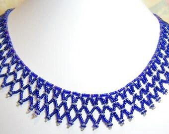 SALE - Blue Netting Beadwork Necklace