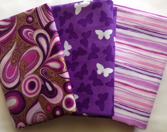 Lot of 3 Quilting Fabric Purple Themes