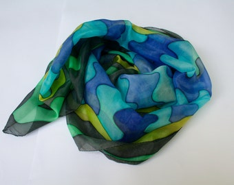 """Hand painted Long Silk Scarf """"Waves""""Hand-painted Silk Scarf with dyes Silk Scarf long Luxury Silk Scarf hand painted Handmade Silk Shawl"""