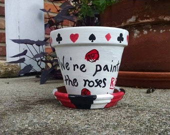 Alice in Wonderland Flower Pot and Saucer