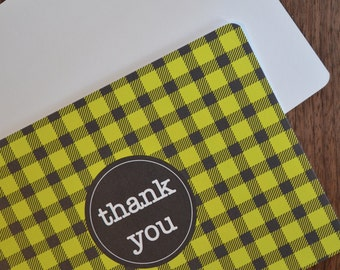 Flat Thank You cards in Black and Yellow Gingham