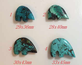 Natural turquoise bear pendant hole is drilled top to bottom through the center Price per 1 pcs TP116