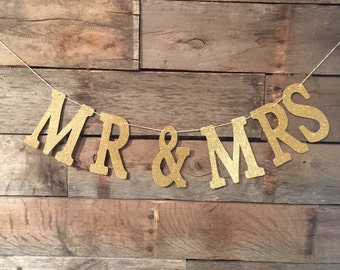 Mr And Mrs Banner, Gold Glitter Banner, Wedding Sign, Mr & Mrs.