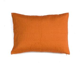 Orange Linen Lumber Pillow Linen Pillow Orange Pillows Sashiko Pillow Decorative Pillow For Bed-Orange Throw Pillows