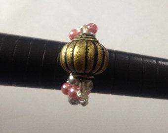 Sliver Wire Wrapped Handmade Bead Ring Size K