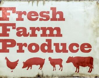 Farm Fresh Produce - Vintage Look Aluminium Sign 17 X 11