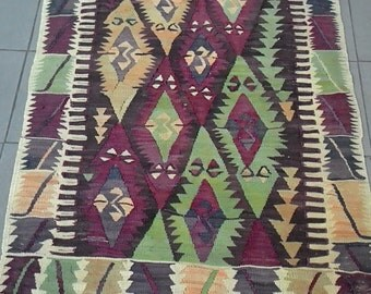 "Home decor,Turkish kilim rug,handmade133X86 cms( 34""x 53"" inches)vegetable died,traditional designed,perfect work excellent colored item."