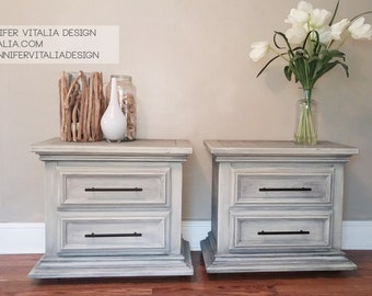 Made to order - custom finish  - Pair of Nightstands, Refinished Painted Driftwood Gray