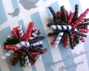 Sparkler Mini Corkers - Red Brown and White Corker Hair Clip - Corker Barrette - Mini Corker Clippie - Korker Hair Bow -  Set of 2