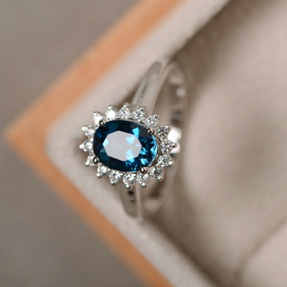 london blue topaz ring sterling silver blue gemstone. Black Bedroom Furniture Sets. Home Design Ideas