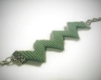 Sage green zig zag layering bracelet