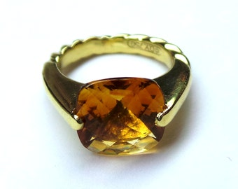 David Yurman 18 kt yellow gold Ring with Citrine Size 4