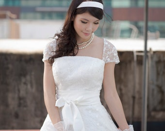 50shouse_ 50s inspired retro feel lace tea wedding dress with sash_ custom make