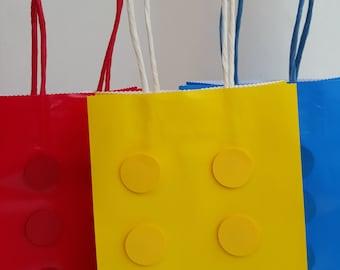 Lego Favor Bag, Lego Gift Bag, Lego Theme Party, Building Block Gift Bag, Building Block Favor Bag, Birthday Party, Lego Party,