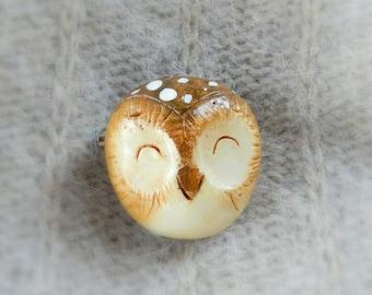 Handmade brooch, polymer clay owl brooch, handmade jewelry, cute owl,pin