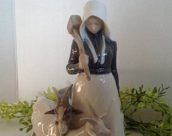 Royal Copenhagen Girl with Goats # 694 Vintage