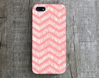 HAND ILLUSTRATED CHEVRON iPhone 5C Case. Coral iPhone iPhone5 Case. Pattern iPhone 5s Case. Hand Drawn Chevron iPhone 5 Case. iPhone 4 Cover