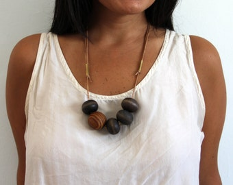 Geometric Asymmetrical Necklace on Leather Chord