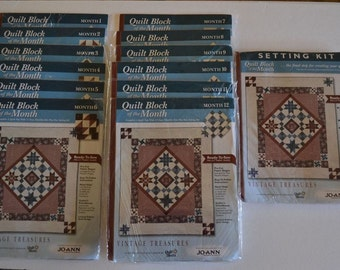 "JoAnn Quilt Block of the Month - ""Vintage Treasures"" including the Setting Kit"