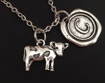 Cow necklace - animal necklace - personalized necklace - initial necklace - silver ox - best friend - friendship - birthday gift