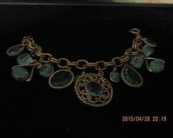 Vintage turquoise glass drops bracelet