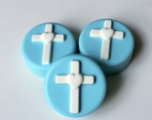 Blue and White Baby Baptism Christening Dedication Chocolate Covered Oreos - unique favor birthday wedding guest bag welcome gift cake pop