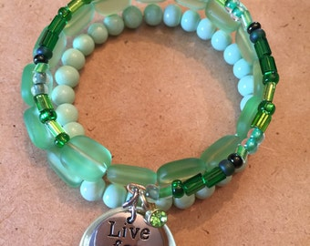 """Emerald and Mint """"Live For Today"""" Gold Plated Wrap Bracelet by So Chic Wrap Bracelets"""