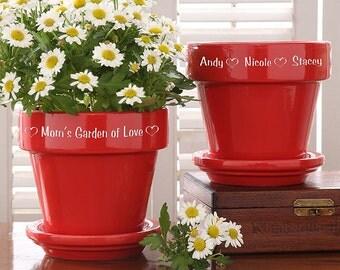 Garden Of Love Flower Pot - Red