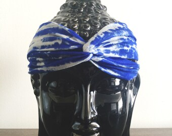 Turban Headband, Head Wrap, Fabric Hair Wrap, Fashion Hair Accessories, Printed Jersey knit Turband in Blue and Grey