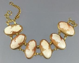 Vintage Gold Filled Large Cameo Bracelet - 12K GF Hand Carved Shell Cameos
